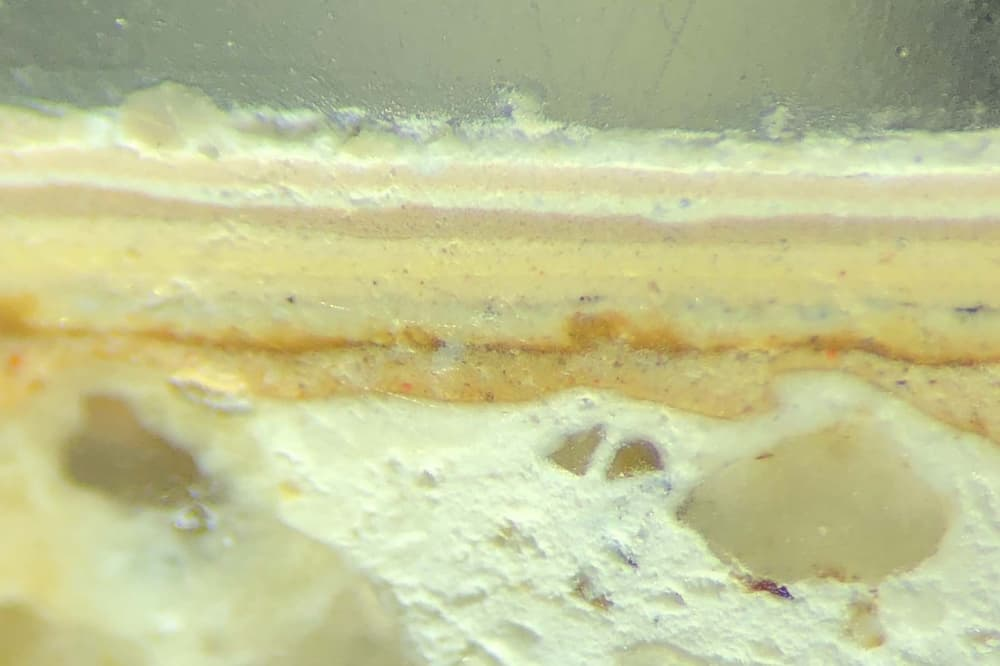 Paint sample photographed under microscope