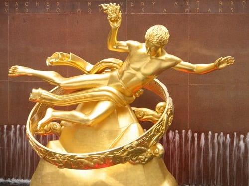 Gilded Promethius Statue