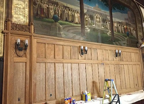 Panels were toned to match existing prior to final stain and varnish applications.